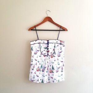 Milly Sailboat Novelty Print Sleeveless Blouse Top